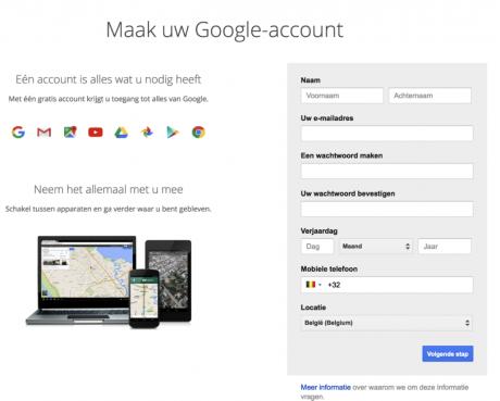 google account aanmaken formulier