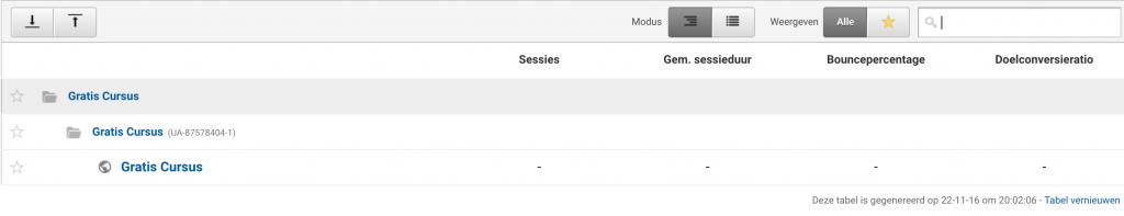 startpagina google analytics