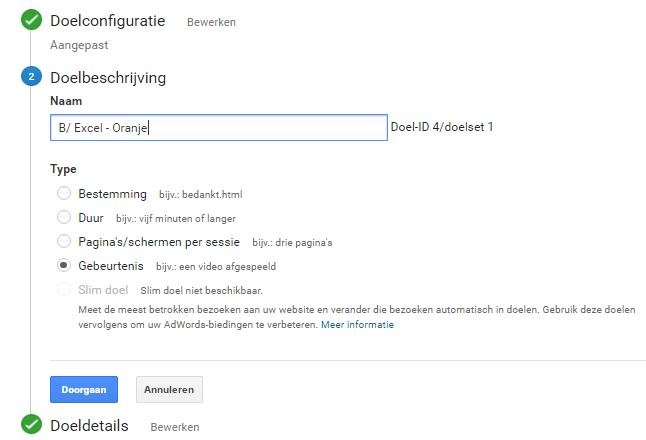 Event tracking doel - Google Analytics